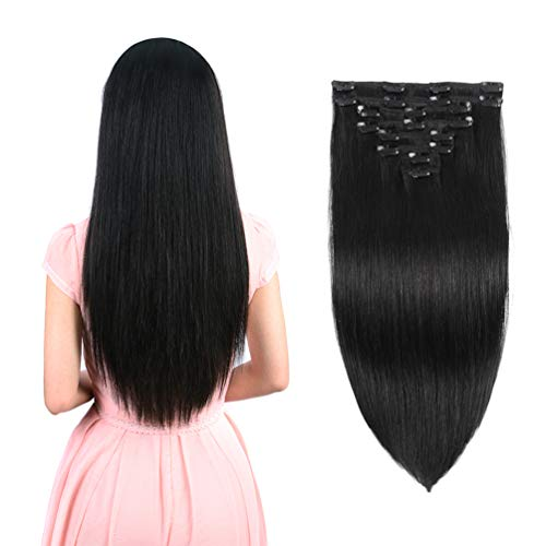 Real Clip in Hair Extensions Natural Black 8 Pieces - Premium Women Straight Double Weft Thick Remy Hair Extensions Clip in on Human Hair for Long Hair (20' / 20 inch, #1B, 122 grams/4.3 Oz)