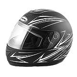 Saferide | Integralhelm Black-Weiß Matt XXL 63-64 cm Helm Motorrad Quad Damen Herren Roller Gesichtsschutz Klapphelm Erwachsene Regenschutz Sturzhelm Motorradhelm Moped Mofa