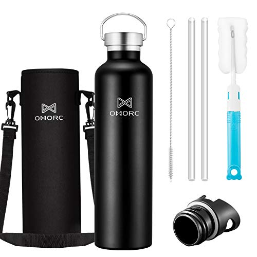 OMORC 316 Stainless Steel Water Bottle-34oz,Double Wall Vacuum Insulated Water Bottle,Stay Cold for 48 Hrs,Hot for 24 Hrs, Wide Mouth Thermo Travel Sports Water Bottle with Straw and 2 Lids-Black