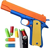Colt 1911 Toy Gun with Ejecting Magazine and Glow Tip Bullets. Actual Size of M1911 with Slide Action Orange Barrel for Training or Play (Colt 1911)