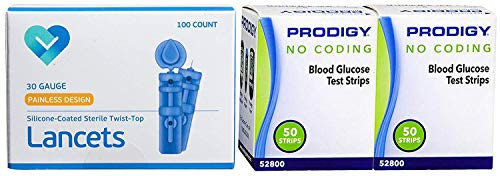 Prodigy Blood Glucose Test Strips, 100 Count + 100 O'WELL Lancets