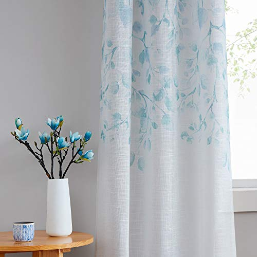 Central Park Leaf Floral Print Metallic Sheer Linen Window Curtain Panel for Rustic Residing Room/Bed room Glowing Ornamental 6 Grommets High Drape Panels Farmhouse Curtains, Teal Blue,40″ x 84″x2, 2 PK