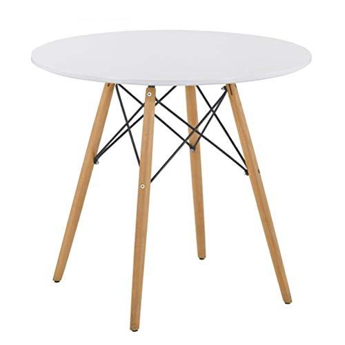 GOLDFAN 80cm Moderner Matt Lackierter Küchen Esstisch Holz Buchenfüße Geeignet für Esszimmer Wohnzimmer Büro, Rund, Weiß