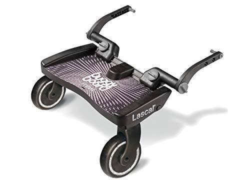 Lascal BuggyBoard Maxi, Kinderbuggy Trittbrett mit großer Stehfläche, Kinderwagen Zubehör für Kinder von 2-6 Jahren (22 kg), kompatibel mit fast jedem Buggy und Kinderwagen, schwarz