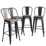 YongQiang Metal Bar Stools Set of 4 High Back Wooden Seat Industrial Indoor Outdoor Bar Chairs 30' Matte Black