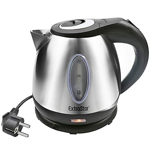 EXTRASTAR Bollitore Elettrico 1,2L 1630W Acciaio Inossidabile,Spegnimento automatico, Base di rotazione a 360, Protezione Boil-dry, BPA Assente, Design esclusivo bollitore. (Acciaio Inox, 1.2L)