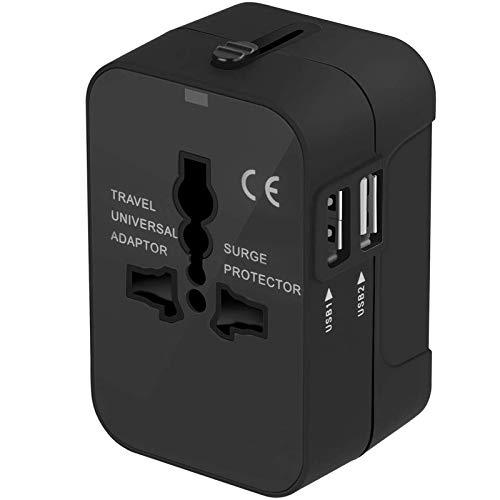 Adattatore da Viaggio, Amoner Adattatore da Viaggio Universale con 2 Porte Caricabatterie USB Adatto per più di 180 paesi (Nero)
