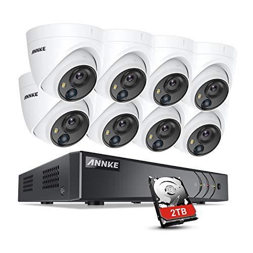 ANNKE 8CH 5MP Kit Videosorveglianza 5MP 8 canali 5MP DVR con 8 Videocamere da Esterno da 5 Megapixel Rilevatore di Movimento 30M IR Visione Notturna 2TB
