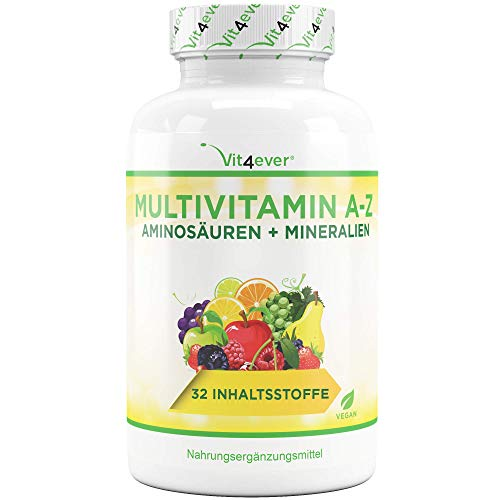 Multivitamin A-Z - 365 Tabletten (12 Monate) - 32 aktive Inhaltsstoffe - Kombination aus Mineralien + Aminosäuren + Spurenelementen + Pflanzenextrakten - Laborgeprüft - Vegan - Hochdosiert
