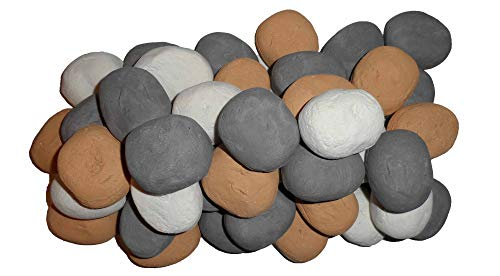 COALS 4 YOU 20 Gas Fire Replacement Ceramic small Pebbles Replacements/Bio Fuels/Ceramic/Boxed/Lot of colours CHOOSE (Mixed white/grey/beige) IN PACKING (GREY)