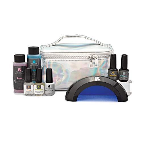 Red Carpet Manicure Starter Gel Polish Holographic Soft Bag Case Pro Kit w/LED Light