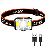 OMERIL Lampe Frontale LED USB Rechargeable avec 200 Lumens 5 Modes...