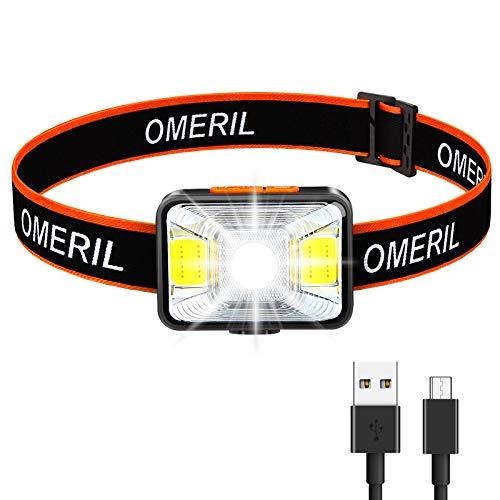 OMERIL Lampada Frontale LED, Torcia Frontale USB Ricaricabile con 5 modalit di Illuminazione, Lampada Frontale IPX5 Impermeabile Luce da Testa per Bambini e Adulti, Campeggio, Corsa, Pesca