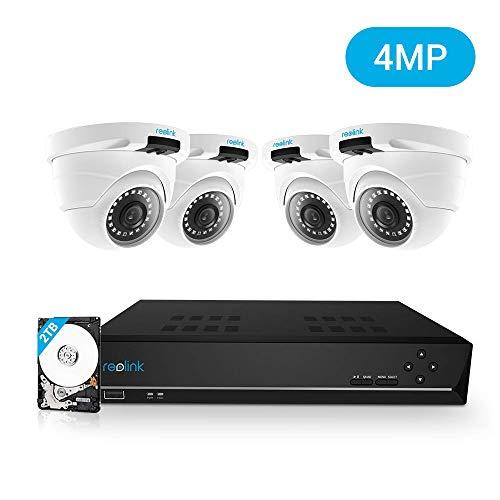 Reolink 8CH 4MP Kit Videosorveglianza IP PoE, 8CH 2TB PoE NVR con 4X 1440P HD Telecamera IP PoE Esterno Impermeabile, Sistema di Sorveglianza con Visione Notturna e Registrazione 24/7, RLK8-420D4