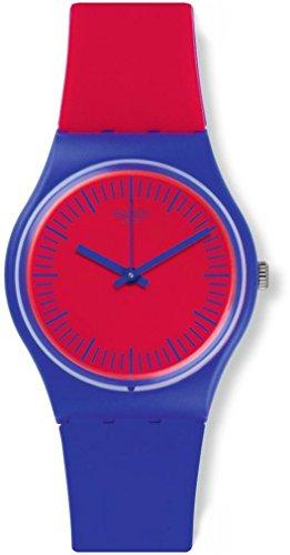 Swatch Damen Analog Quarz Uhr mit Silikon Armband GS148