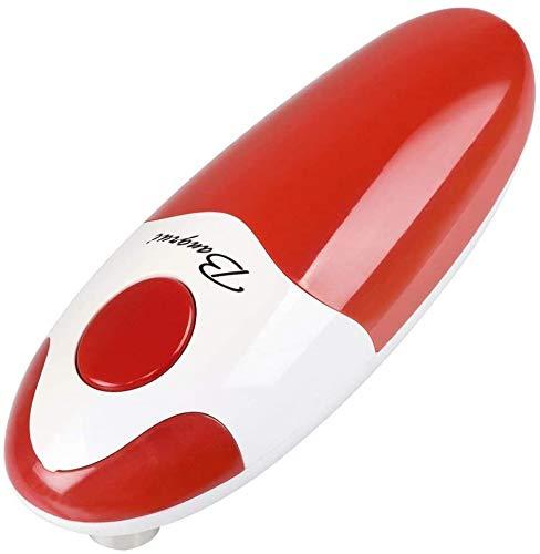 BangRui Elektrischer Dosenöffner mit sanftem Rand, mit Ein-Knopf-Start und manuellem Anschlag (rot)
