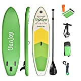 Uenjoy 10' Inflatable Stand Up Paddle Board (6 Inches Thick) Non-Slip Deck Adjustable Paddle Backpack,Pump, Repairing kit, Blue