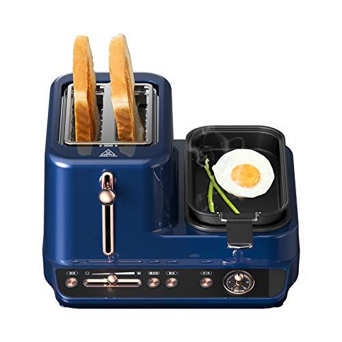 DMMSS Toaster mit Eierkocher, 3 in 1 Frühstücksstation Center - 2 Scheibe Toaster - Eierkocher und Wilderer - Gemüse, Speck und Fleischdampfer