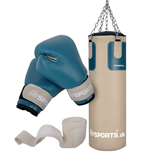 ScSPORTS Boxsack-Set mit Boxsack 25 kg, inklusive Boxhandschuhen, Boxbandagen und 5-Punkt-Stahlkette,...