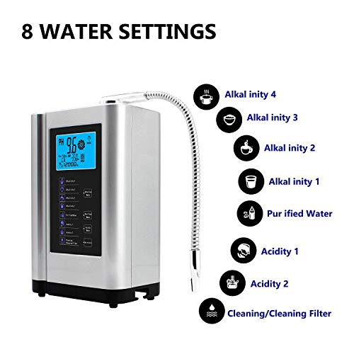 Product Image 4: AlkaDrops Water Ionizer, Water Purifier Machine PH 3.5-10.5 Alkaline Acid Water Machine,Up to -500mV ORP, 6000 Liters Per Filter,7 Water Settings,Auto-Cleaning,Intelligent Voice(silver)