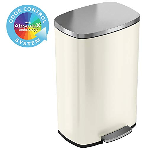 iTouchless SoftStep 13.2 Gallon Ivory Steel Step Trash Can with Odor Control System, 50 Liter Pedal Garbage Bin for Kitchen, Office, Home-Silent and Gentle Open and Close, 13 Gal Stainless White