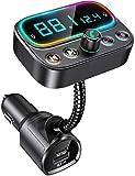Bovon Transmetteur FM Bluetooth avec Dual Mic, [Une Clé pour Éteindre la FM]...