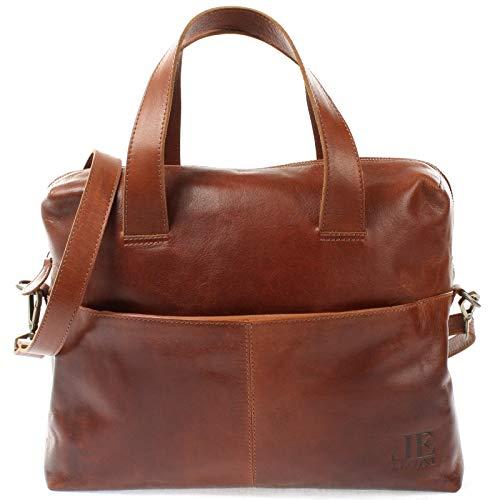 LECONI Schultertasche Henkeltasche für Frauen Büffel-Leder DIN-A4 Businesstasche Handtasche Shopper für Damen 36x26x12cm braun LE0059-buf