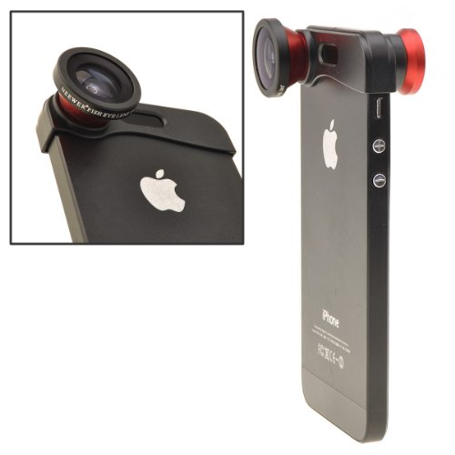 NEEWER Red 180° Fish Eye Lens+Wide Angle Lens+Macro Lens 3-in-1 Kit for Apple iPhone 5, iPhone 5s