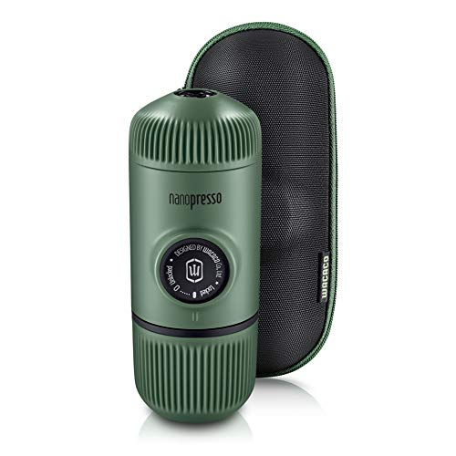 WACACO Nanopresso máquina de café espresso portátil con protectora Nanopresso S-Case adjunto, actualización de la de Minipresso, Cafetera de viaje, Operado manualmente (Nuevos Elementos Musgo Verde)