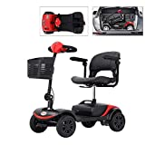 4 Wheel Mobility Scooter, Electric Powered Wheelchair Device, Compact Heavy Duty Mobile with Basket for Gravida, Foldable in Boot Trunk for Traveling with Seniors