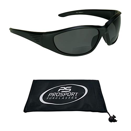 proSPORT Polarized Bifocal Sunglasses Readers for Men Women Full Sport Wrap Frame Fishing Boating Beach Matte Black Smoke +2.50 Anti Glare Lenses