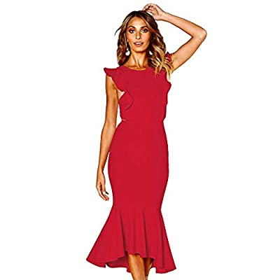 COCKTAIL DRESS in Poly/Spandex with Stretch: Made of soft and comfortable fabric with added stretch for perfect form fitting. Easy to take care of. Four sizes from S to XL. EVENING DRESS in ZIPPER CLOSURE: This dress does have a concealed zipper on t...