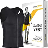 Sweat Vest for Men with Zipper - (S-6XL) - Premium Weightless Neoprene Sauna Shirt - Increase Your Workout Motivation - Designed in The USA