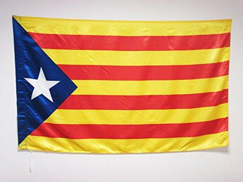 AZ FLAG Bandera de CATALUÑA ESTELADA BLAVA 150x90cm en Raso para Palo - Bandera CATALANA INDEPENDENTISTA – Catalunya 90 x 150 cm