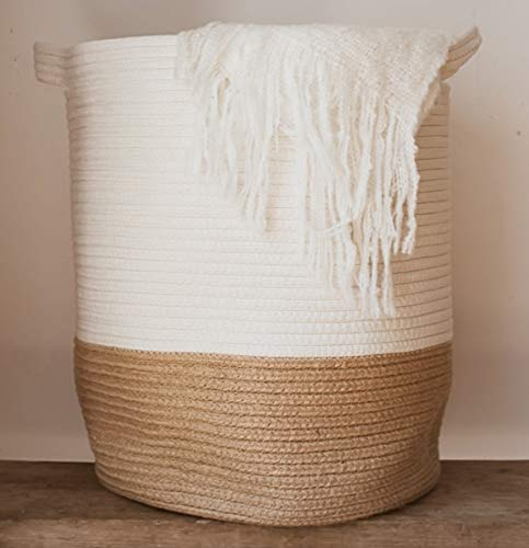 Extra Large Woven Storage Baskets | 18' x 16' Decorative Blanket...