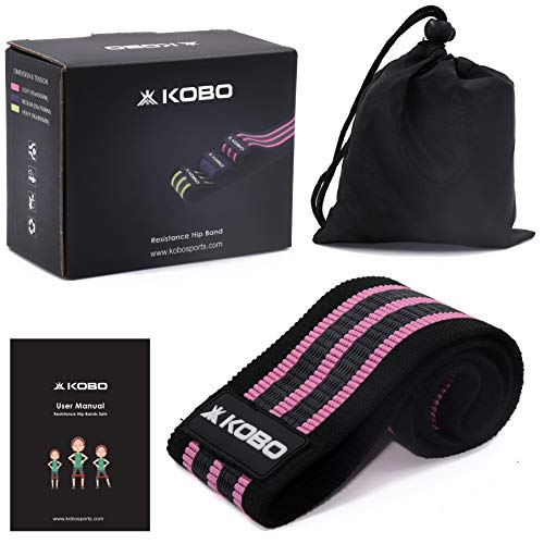 "Kobo AC-89 Resistance 3"" Wide Non Slip Loop Band for Squats, Hips & Glutes, Yoga, Crossfit, Stretching, Physical Therapy Hip Band, Includes Travel Bag and Workout Guide Booklet, Light (Multi Colour)"