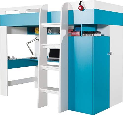 Hochbett (Bonnell Matratze im lieferumfang enthalten) 'Mobi' System 20. Kleiderschrank, Schreibtisch, Kombination von Regalen und Schubladen All in One.