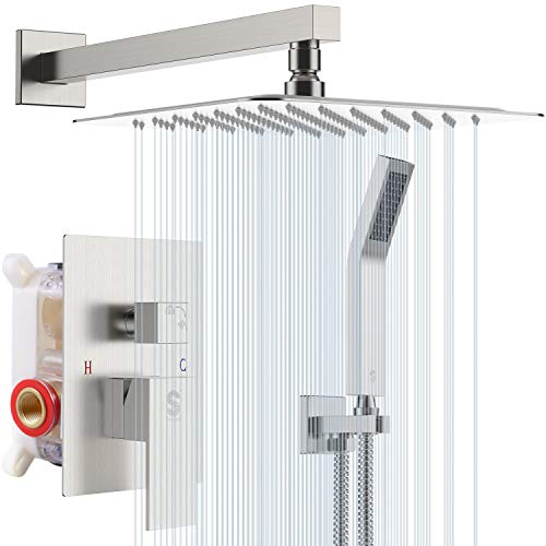 SR SUN RISE 12 Inches Bathroom Luxury Rain Mixer Shower Combo Set Wall Mounted Rainfall Shower Head System Brushed Nickel Finish Shower Faucet Rough-In Valve Body and Trim Included