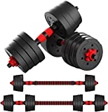 KAC Adjustable Dumbbells Barbell 2 in 1 with Connector, Lifting Dumbbells for Body Workout Home Gym, Set of 2 (88LBS)