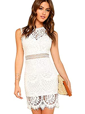 70% Cotton, 30% Nylon Round Neck, Cut Out, Zipper Closure Guipure Lace Mesh, Embroidered Eyelet, Above Knee Length Occasion: Cocktail, Party, Guest of Wedding, Semi-Formal, Special Occasion. Model Measurement: Height: 68.1 inch, Bust: 33.9 inch, Wais...