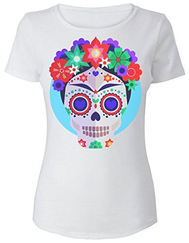 Finest Prints Artist Inspired Skull with Flowers Camiseta de Mujer Women's T-Shirt Large
