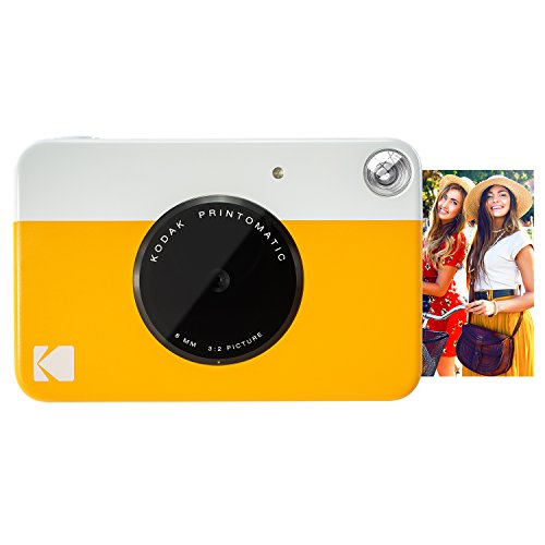 Kodak PRINTOMATIC Digital Instant Print Camera (Yellow), Full Color Prints On ZINK 2x3' Sticky-Backed Photo Paper - Print Memories Instantly