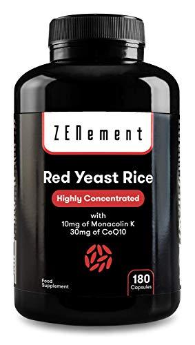 Riso Rosso Fermentato (Lievito di Riso rosso) con 10 mg di Monacolina K e 30mg di Coenzima Q10, 180 Capsule   Vegan, senza Additivi, senza Citrinina