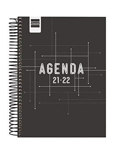Finocam Agenda 2021 2022 1 Día página Septiembre 2021, Junio 2022 10 meses y Julio/Agosto resumidos 4º, 155x212 Cool Negro Español
