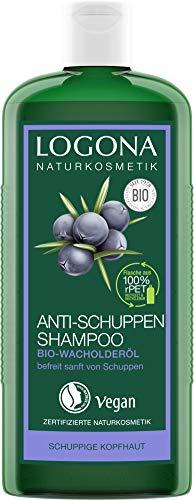LOGONA Naturkosmetik Anti-Schuppen Shampoo Bio-Wacholderöl, Effektiv gegen Schuppen & Neubildung, Beruhigt gereizte & trockene Kopfhaut, Mit Bio-Pflanzenextrakten, Vegan, 250ml