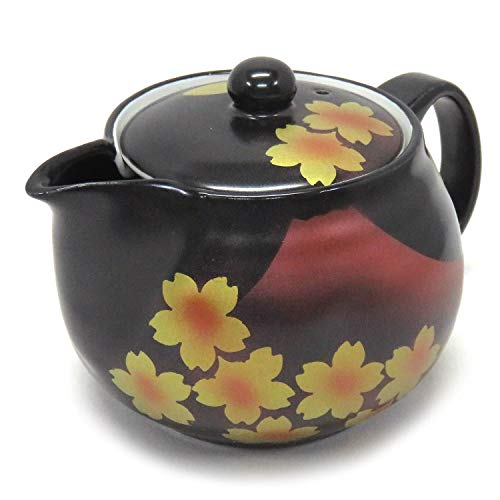 Kutani Yaki(ware) Japanese Teapot Sakura Mt Fuji (with tea strainer)