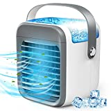 YAMTION Portable Air Conditioner, Rechargeable Evaporative Mini AC with 3 Speeds 7 Colors Light, Cordless Personal Air Cooler Fan for Home Office Room