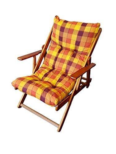 Totò Piccinni POLTRONA SEDIA SDRAIO HARMONY RELAX (GIALLA/ARANCIONE) in legno pieghevole cuscino imbottito soggiorno cucina giardino salone divano