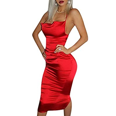SOFT & COMFY: Our women dresses are made of soft and smooth satin fabric, they are breathable, comfortable and no itchy. FEATURES: Neon Color, Scoop Neck, Spaghrtti Strap, Low-Cut Dress, Backless, Lace Up, Midi-length, A-line Style. Stretchy design f...