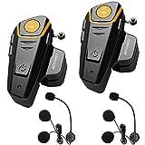 Intercom Moto Duo pour 2 Casques, BETOWEY BT-S2 Kit Oreillette Bluetooth Moto Interphone Main Libre - 2 Pack, Microphone Dur